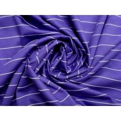Bavlněný žerzej fialový s bílým proužkem