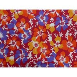 PAD elastický úplet - ibiškové květy červená - plavkovina matná