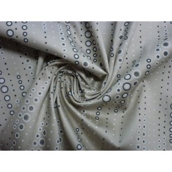 Bavlna strečová - puntíky na béžové