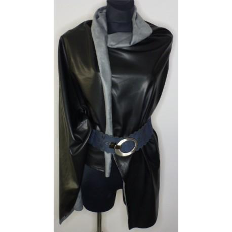 Koženka černá oděvní - s šedým velurovým rubem