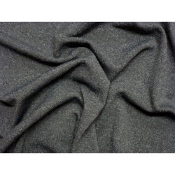 Tmavě šedý melange elastický úplet