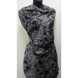 Šifonová šatovka - černobílé květy