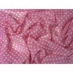 Šifonová šatovka - bílý puntík na růžové