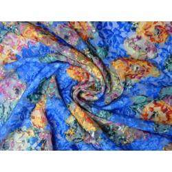 Barevná krajka elastická - růže na modré