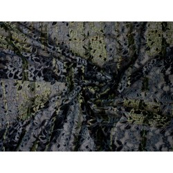 Barevná krajka elastická - olivová s černou a šedou