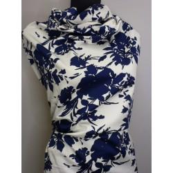 Strečová bavlna modrobílá